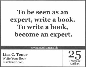 write a book, become an expert