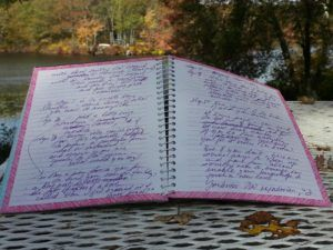 journal with fall backdrop