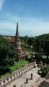 Buddhas surrounding the courtyard in Ayutthaya